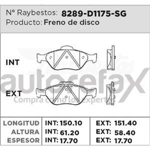 BALATA FRENO DE DISCO RAYBESTOS - 8289D1175SG