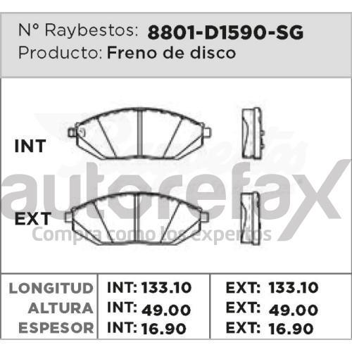 BALATA FRENO DE DISCO RAYBESTOS - 8801D1590SG