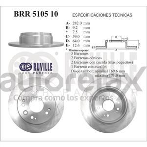 ROTOR FRENO DE DISCO RUVILLE - BRR510510