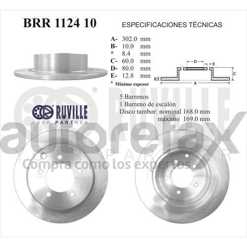 ROTOR FRENO DE DISCO RUVILLE - BRR112410