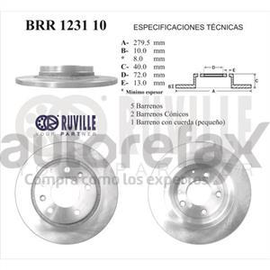 ROTOR FRENO DE DISCO RUVILLE - BRR123110