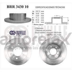 ROTOR FRENO DE DISCO RUVILLE - BRR343010
