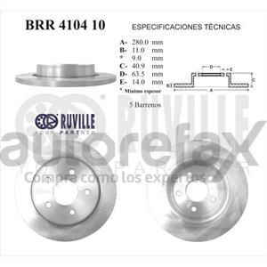 ROTOR FRENO DE DISCO RUVILLE - BRR410410