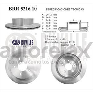 ROTOR FRENO DE DISCO RUVILLE - BRR521610
