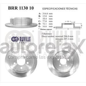 ROTOR FRENO DE DISCO RUVILLE - BRR113010