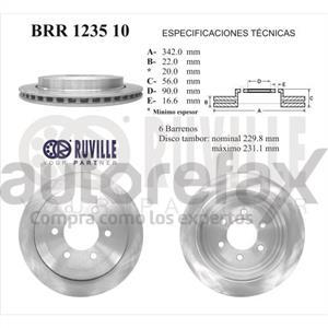 ROTOR FRENO DE DISCO RUVILLE - BRR123510
