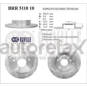 ROTOR FRENO DE DISCO RUVILLE - BRR511010