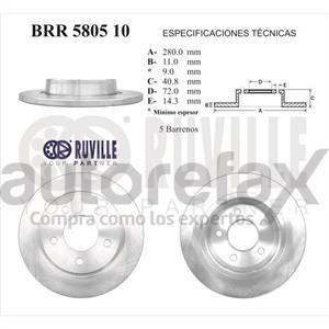 ROTOR FRENO DE DISCO RUVILLE - BRR580510