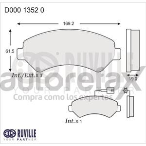 BALATA FRENO DE DISCO RUVILLE - D00013520